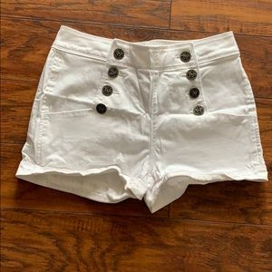 Express White Shorts with Buttons